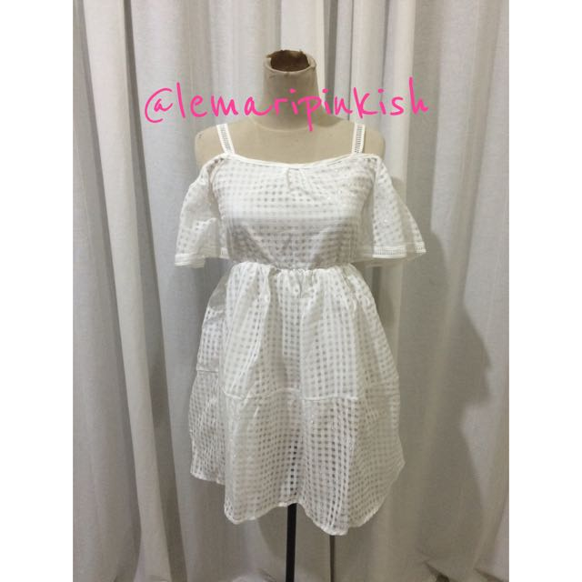 sabrina white dress (import bangkok)
