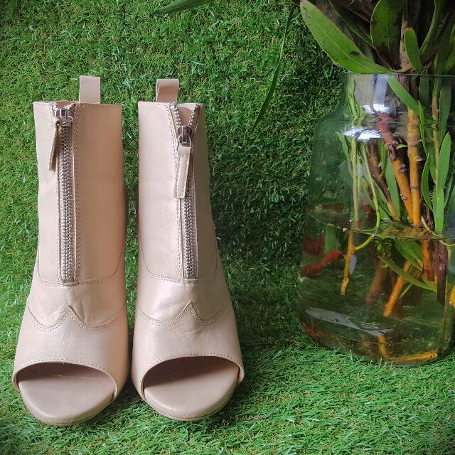 Tony Bianco Nude Peep-toe Ankle Boots (10)