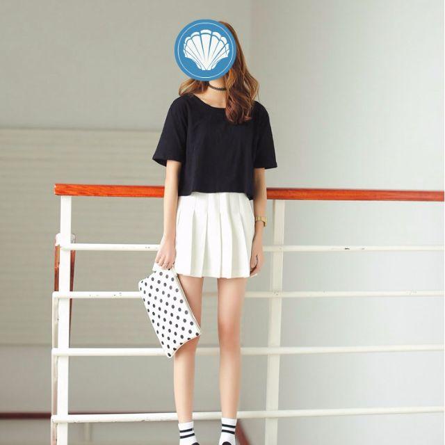 TWINKLE#韓版寬鬆竹節棉短版素色T(預購)