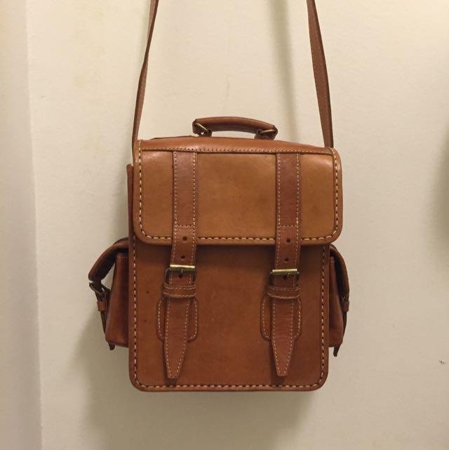 ON-HOLD Vintage Satchel Leather Bag