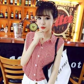 韓版百搭小清新寬松休閒無袖翻領條紋襯衣襯衫女學生