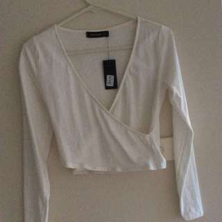 White Long Sleeve Crop