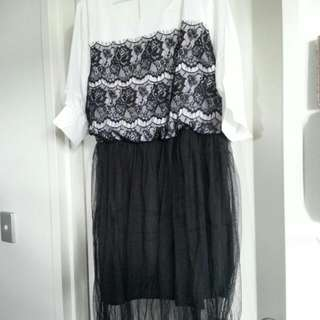 Beautiful puffed sleeve lace dress with ballet skirt