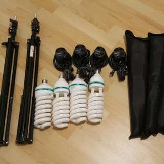 棚燈 四燈組+2腳架+高瓦數攝影專用燈泡