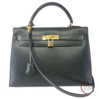 Authentic HERMES Kelly 32 Gold Hardware Handbag Green Box calf 194-7 5.30