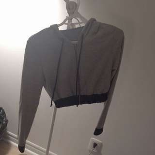 Grey & Faux Leather Crop Zip Up Sweater