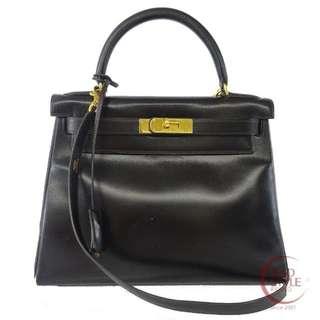 Authentic HERMES Kelly 28 Gold Hardware Handbag Black Box calf 251-9 5.30