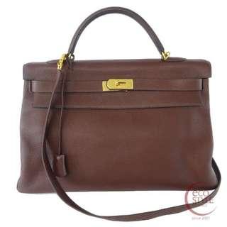 Authentic HERMES Kelly 40 Gold Hardware Handbag Brown 310-10 5.30