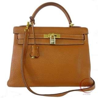 Authentic HERMES Kelly 32 GHW Handbag Noisette Taurillon Clemence 362-10 5.30
