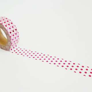 Pink Foil Polka Dots Washi Tape Roll