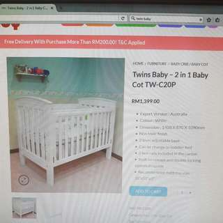 Twinsbaby 2 In 1 Baby Cot