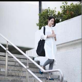 棉麻白色長版襯衫罩衫