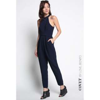 Love Bonito Covet Juvika Cross Front Jumpsuit in NAVY SIZE S