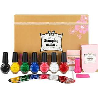 Konad Stamping Nail Art Gold Set + 1 Image plate of your choice
