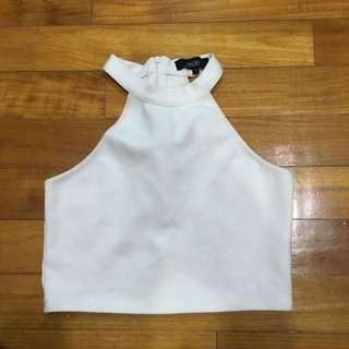 MDS Collections White Rib Crop Top In S
