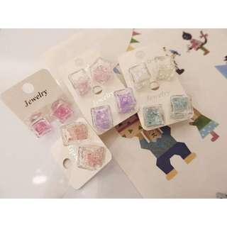 正韓 韓國空運  冰塊系列 圓圈 水鑽 彩鑽 甜心香水瓶 耳針耳環