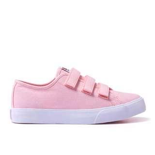 (含運)韓國SKONO粉色魔鬼氈帆布鞋