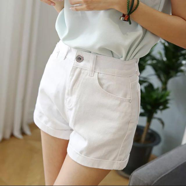 夏季捲邊顯瘦寬鬆牛仔短褲