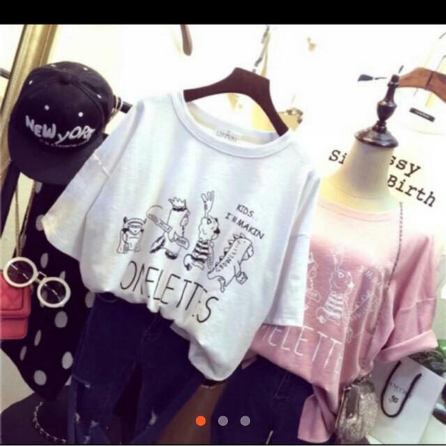 韓國 舒適造型圖鴨童趣白色上衣