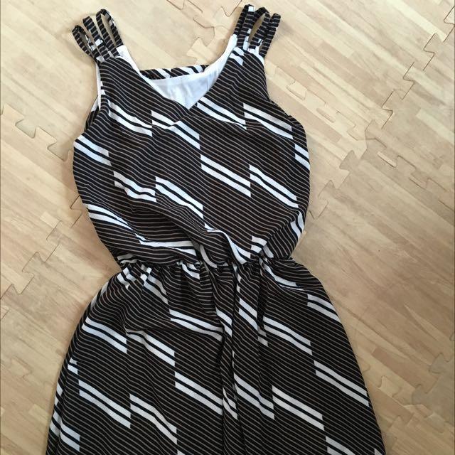 全新 黑白條紋洋裝