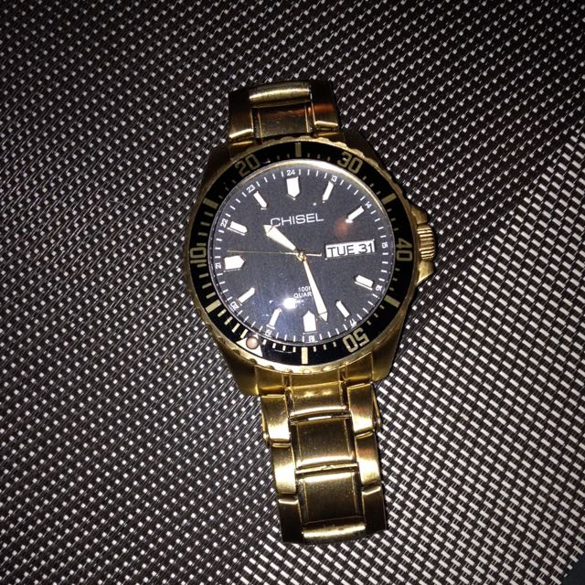 As New CHISEL Gold & Black Men's Watch