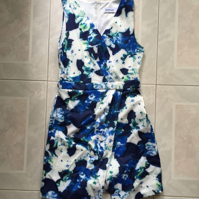 Editors Market Blue And White V Neck Dress