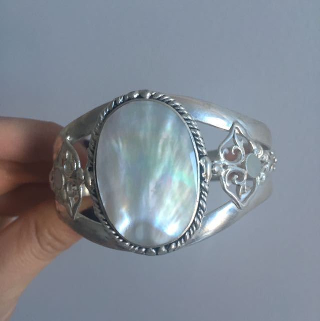Engraved Pure Silver Cuff With Mother Of Pearl