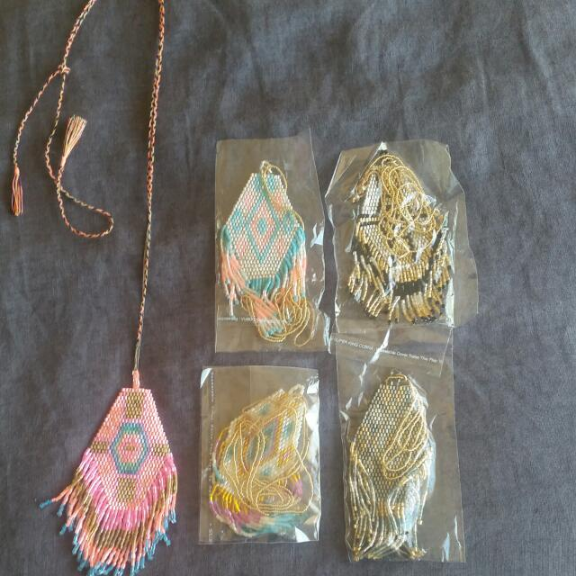 Five Beaded Tribal Necklaces NEW