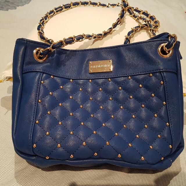For DONATION..Blue Navy And Gold Small Bag Forever New.