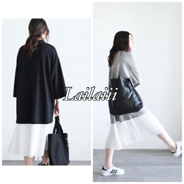 lailaiii  韓國2016春夏 假兩件 拼接 七分袖 長款 下擺壓摺 百摺 寬鬆 連身裙 洋裝