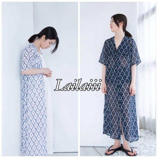 Lailaiii| 韓國 復古 印花 雪紡單排扣 繫帶 長裙 連身裙 防曬衫 長版襯衫 2016春夏 必備 海灘 罩衫