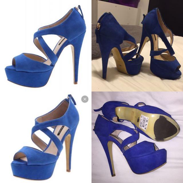 REDUCED: Tony Bianco Precious Sky Blue Suede Heels 7