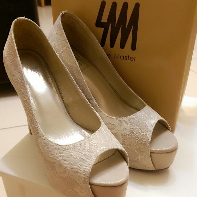 SM Shoe Master 金蔥蕾絲新娘鞋高跟鞋