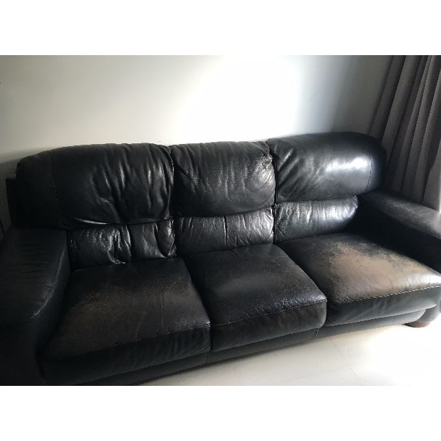 Three Seat Italian Black Leather Sofa