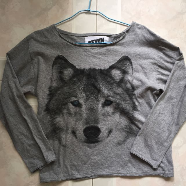 Wolf Long Sleeved (slightly) Cropped Top