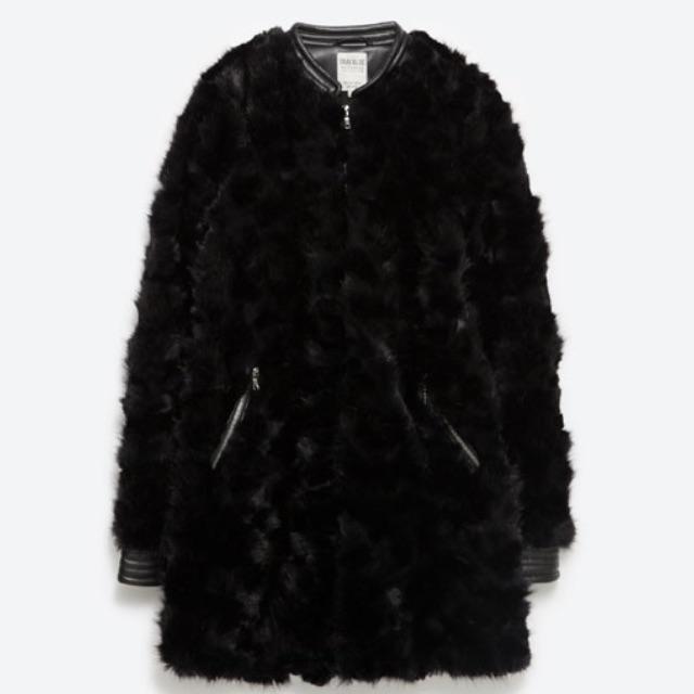 4d01f8619f Zara Black Faux Fur Coat