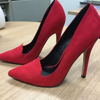 Red Suede Stiletto Heels