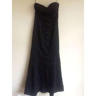 Floor Length Evening Gown - Black