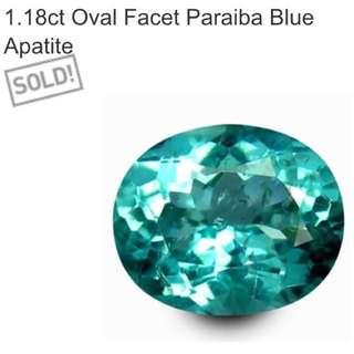 1.18 Ct Oval Facet Paraiba Blue Apatite
