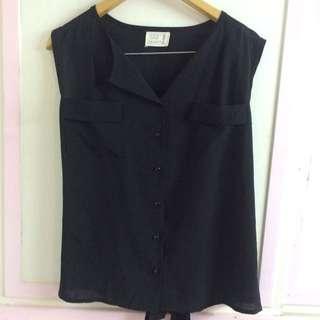 韓製 黑色無袖雙口袋雪紡上衣背心