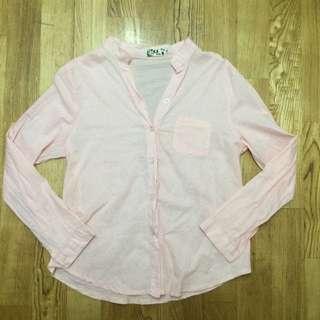 待匯款 粉紅色立領棉麻襯衫