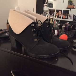 ON HOLD Lace Up Ankle Boots With Fluffy Lining