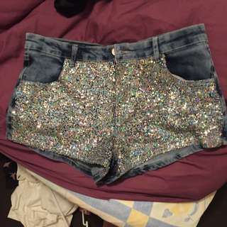 Sequinned Denim Shorts