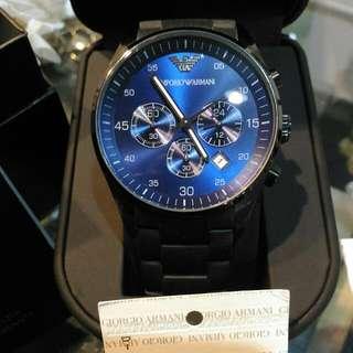 全新正品ARMANI三眼藍錶面AR5921