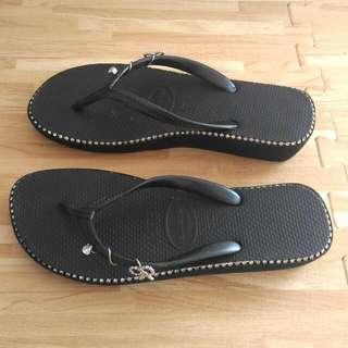 天然巴西橡膠鞋 (黑色厚底+鑽)