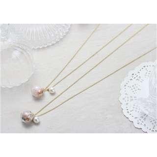 ForPrincess 韓國飾品玻璃珍珠長鍊項鍊