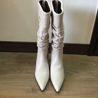 👠高跟馬靴👠CAT PARD乳白色高跟馬靴