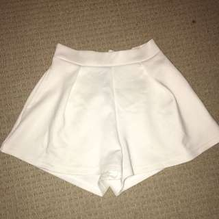 White Culotte Shorts