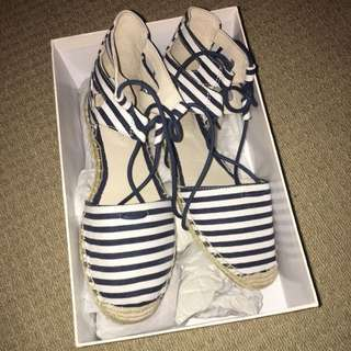 Witchery Navy And White Stripes Espadrilles