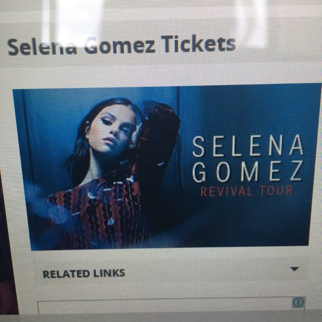 1 Selena Gomez Early Entry Ticket Standing Sydney Show